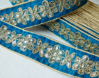 Sari border in turquoise with gold embroidered pattern - ONE yard, 40mm luxurious turquoise and gold sequinned Indian sari border - 1 yd.