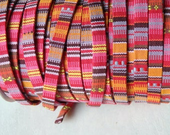 Ethnic style woven trim - BRIGHT PINK, TWO yards of flat folded fabric tape, 10mm ethnic trim for jewelry, craft, jewelry supplies -  2 yds.