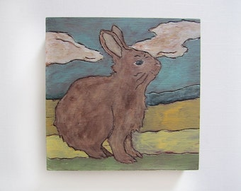 Original Rabbit Hand Etched Painting on Wood Panel