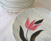 9 Stetson Pink Tulip with Gray Stripes Soup Bowls Set of 9 Vintage 1950s