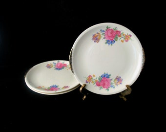 3 Paden City Pottery Rosalee Bread Plates with Floral Spray Design and Gold Trim Vintage 1940s Set of 3