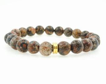 """8mm Men's """"Chase"""" Leopard Jasper Beaded Bracelet"""