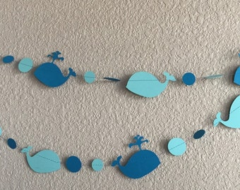 Baby Beluga paper garland Whale Party  Whale Baby Shower