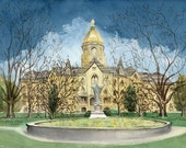 College Print Notre Dame Print Hand signed giclee 200 total prints ND University Main Building College University Art Print South Bend art
