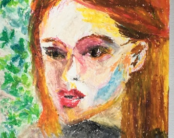 Original Oil Pastel Portrait Painting/ Illustration- Joyce