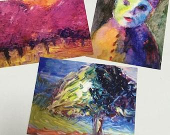 3 Original Oil Painting POSTCARD