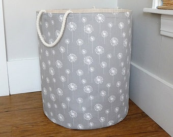 "Extra Large Hamper, Fabric Storage Laundry Basket, Grey Dandelion Fabric Organizer, Toy or Nursery Basket, Storage Bin - 20"" Tall"