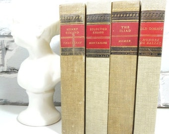 On Sale Price Khaki Book Collection. Four Vintage Books. Father's Day. Wedding Prop. Home Decor. Mini Library. Man Cave. Classic Gifts For H