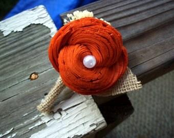 Burnt orange boutonniere, Fall boutonniere, Sola boutonniere, burnt orange button hole, Fall wedding, rustic wedding, rustic boutonniere