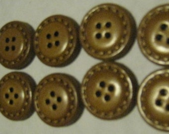 Vintage Lot of 10 JHB Genuine Leather Buttons Brown - 3/4""