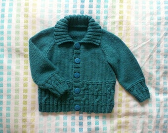 Baby hand knitted green cabled cardigan | jade green sweater with collar | boy 6 to 12 months
