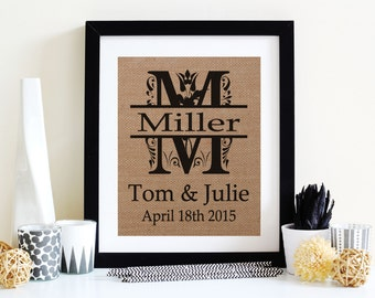 Last Name Sign - Family Name Signs - Personalized Burlap Print - Rustic Burlap Print - Unique Wedding Gift -Rustic Decor
