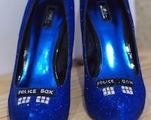 Hand Decorated Glitter-covered TARDIS Inspired Shoes size 8 (UK) 42 (EU) 10 (usa & Australia)