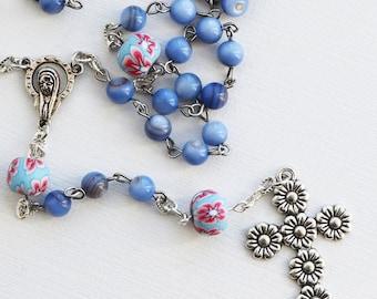 Rosary--Contemporary Handmade Rosary--Blue--Hand Beaded Rosary--Catholic--Prayer Beads--Boho--Inspirational--One of a Kind--Daisies--Hope