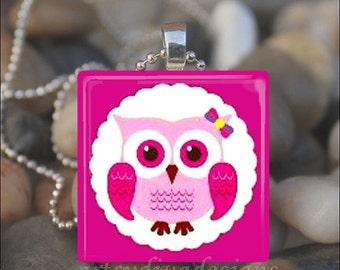 15% OFF AUGUST SALE : Owl Lover Pink Love Friendship Friend Glass Tile Pendant Necklace Keyring