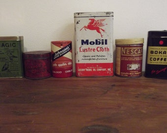 Lot of 6 Vintage Advertising Tins For Your Collection or Repurposing Coffee, Birds Food, Etc