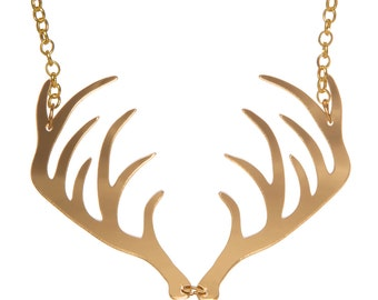Antlers necklace - laser cut mirror acrylic