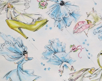 Vintage Hallmark WEDDING or Bridal SHOWER Gift Wrap - Wrapping Paper - BRIDES - Early 1950s