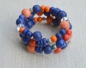 Blue and Orange Memory Wire Bracelet