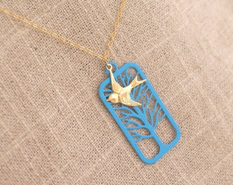 Gold Sparrow Necklace - Bird in Flight Necklace - Bird and Tree in 14k Gold Filled - Turquoise Tree - Charm Necklace - Avian Bird Jewelry