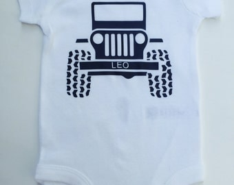 Custom Baby Boys Onesie, Baby Boys Shirt, Vinly, Newborn BoysOutfit, Personalized , Jeep LOVERS