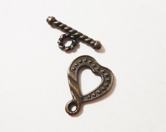 Heart Toggle Clasps 18mm Antique Brass Toggles Bronze Toggle Clasps Toggle Closures Jewelry Clasps Bracelet Clasps Findings 10 Sets (20pcs)