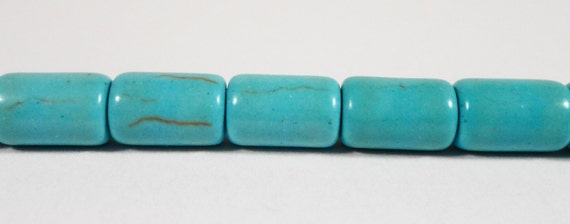 "Turquoise Howlite Stone Beads 9x6mm Blue Howlite Cylinder Beads, Gemstone Barrel Beads, Stone Tube Beads on a 7 1/4"" Strand with 19 Beads"