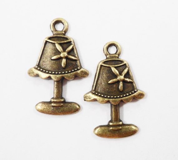Bronze Lamp Charms 22x14mm Antique Brass Lamp Pendants, Light Charms, Desk Lamp Charm, Lampshade Charms, Metal Charms for Jewelry, 10pcs