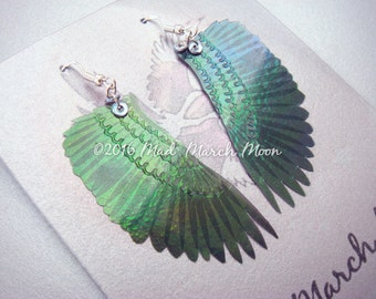 Micro Crow wing earrings, Black iridescent hand embellished, silver ear hooks, clip ons or latch back available