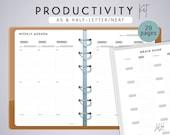 A5 PRODUCTIVITY KIT - Printable Planner Inserts - Neat Theme - 29 sheets - fits Filofax A5, Kikki K Large