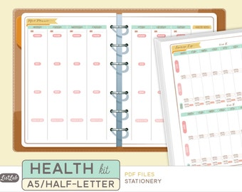 A5 HEALTH and FITNESS Kit  - Printable A5 Planner Inserts - Stationery Theme - 15 sheets