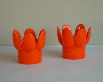Midcentury Royal Krona Set of 2 Brilliant Orange Glass Candle Holders Made in Sweden
