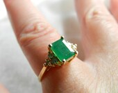 Hold for A, through 10-14 Emerald 14K Gold Ring 1.8 Ct Emerald Ring Unique Engagement Ring Diamond Emerald Ring May Birthstone May Birthday