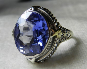 Engagement Ring Blue Sapphire Engagement Ring 14K White Gold Art Deco 1920s Ring Blue Lab Sapphire Engagement Ring September Birthstone
