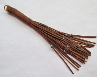 Long Suede Tassel Brown Color with Turquoise Beads Beaded Tassel 8 1/2""