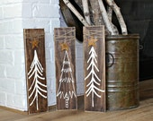 Christmas Tree Signs - Rustic Christmas Decoration - Rustic Home Decor - Wood Holiday Sign - Christmas in July - Cottage Decor - Set of 3