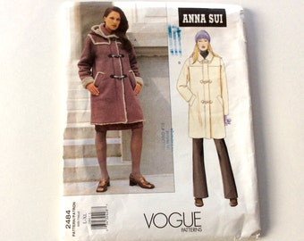 Vogue Anna Sui Coat Pattern, Vogue 2484, Mid Length Coat with Detachable Hood, Size Large and Extra Large, Uncut