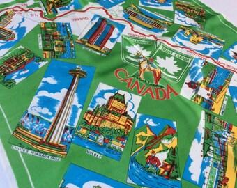 Vintage Souvenir Scarf, Canada Souvenir Scarf, Trans Canada Highway, Bright Craphics, Excellent Condition, 1970s