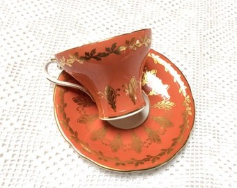 Vintage Bone China Teacup, Aynsley China Teacup, Orange and Gold, Corset Shape, 1950s, Excellent Condition