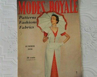 Vintage Summer 1950 Modes Royale Fashion Magazine // Pattern Catalog // Vintage Fashion // Vintage Clothing // Vintage Style