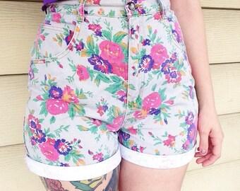 90s Floral High Waisted Denim Shorts