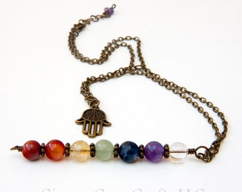 Chakra necklace, chakra pendant, crystal necklaces, hamsa necklace, chakra jewelry, chakra stones, rainbow necklaces, seven chakras