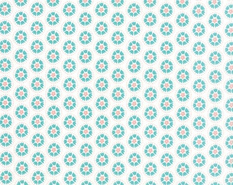 Lil' Red Spinning Tulips 20505-11 Turquoise Cloud by Stacy Iset Hsu for Moda Fabrics