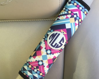 Monogram car decor, Aztec padded seat belt strap cover, Blue pink car accessories, Personalized gift for her, Unique present for mom (1261)