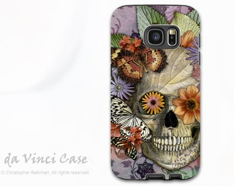 Butterfly Floral Skull - Artistic Galaxy S6 EDGE TOUGH Case - Dual Layer Protection - Butterfly Botaniskull
