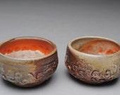 Tea Bowls Wood Fired Sake Shot Cups Set of Two D18