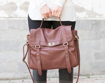 Leather messenger bag - Satchel bag - Laptop messenger bag - MELINA bag