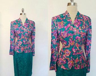 1980s Vintage Women's Silk Suit