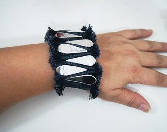 FREE Shipping  Ruff Edged Denim Blue Jean Bracelet, Denim Bracelet Cuff ,Blue Jean Cuff Bracelet, Recycled Blue Jean Bracelet,