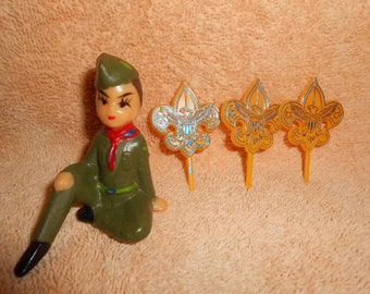 Vintage Boy Scout Cake Topper and Picks